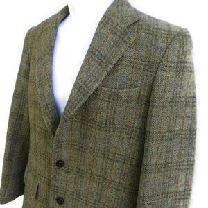 Jos A Bank Harris Tweed Coat Herringbone Plaid 38R